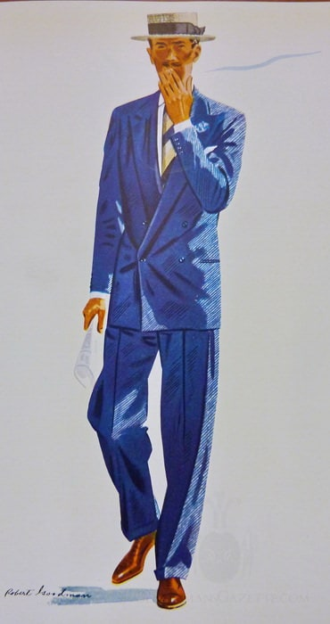 Apparel Arts 1939 Blue Spring Suit - Double Breasted