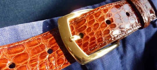 Caiman Crocodile Belt Brass Buckle J. Hilburn