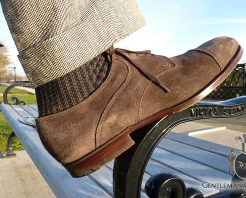 Saint Cripin Suede Derby Houndstooth