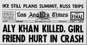 Newspaper Headline of Aly Khan's Death