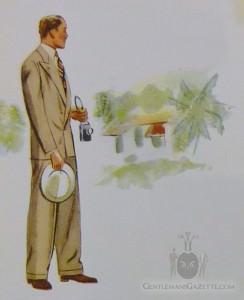 Beiger zweireihiger Sommeranzug - Apparel Arts 1937