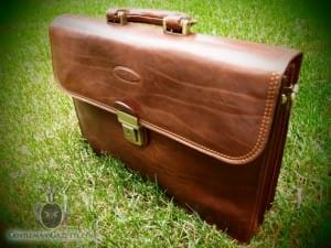 Maxwell Scott Paolo Leather Briefcase Front View