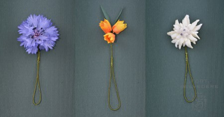 Silk Boutonnieres that look like real flowers - they just never wilt & travel well