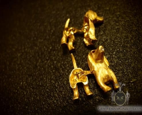 Dog Cuff Links 18kt Gold with Diamonds & Rubies