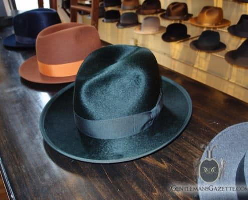 Green Shiny Fedora With Matching Ribbon And Trim