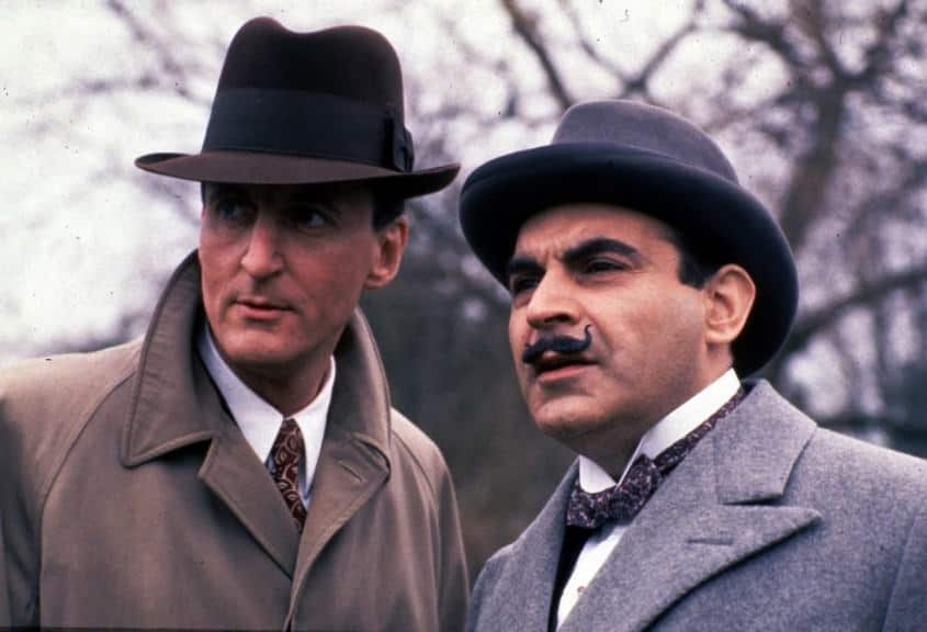 Arthur Hastings & Hercule Poirot in an early episodes - note the gapping collar