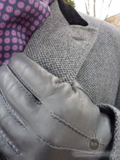 Grey Gloves With Grey Overcoat