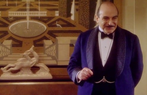 Herule Poirot in Smoking Jacket