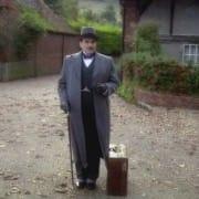 Poirot in Long Overcoat