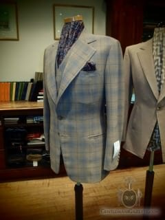 Fawn Blue 3 Piece Suit With Fly Front Vest