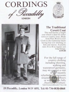 Cordings Covert Coat Ad 1980s