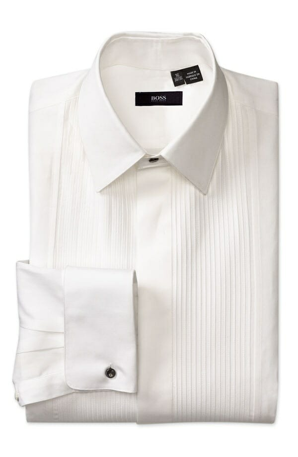 Hugo Boss Plise tuxedo shirt with fly front