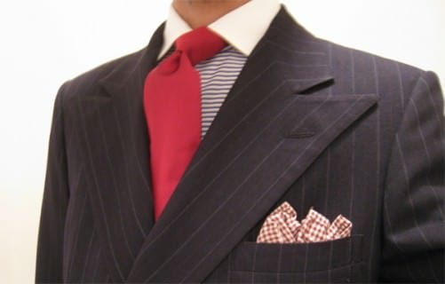 Burgundy Tie with Contrast Collar