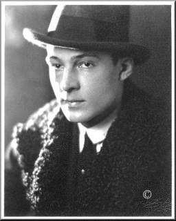 Rudolph Valentino in Curly Lamb Coat