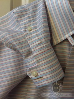 Cuff Detail on Horizontally Striped Shirt