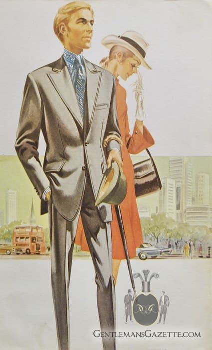 Grey 1960s Suit with Tautz Lapel