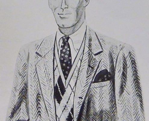 3 roll 2 Herringbone Tweed Jacket, Argyle Sweater Vest & Small Figured Tie