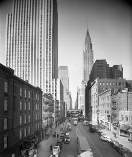 Chrysler Building as seen from 42nd St, looking west from 2nd Avenue.a. 1935-1941.