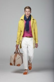 Cotton Mac in Yellow, Cotton Cashmere Sweater in pink, Ecru Trousers, Orange Deck shoes