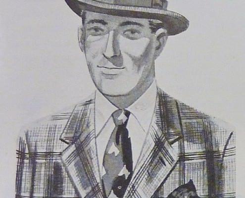 Dark Homburg Hat, Glen Urquhart Plaid Tweed Jacket, Animal Pattern Wool Tie