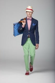 Denim Blazer Outfit with Hat, Gingham Shirt, Red Boat Shoes & Green Chinos