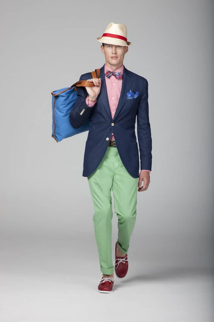 Blazer Outfit with Hat, Gingham Shirt, Red Boat Shoes & Green Chinos