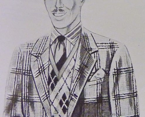Large Glen Urquhart Plaid Tweed Jacket, Argyle Pattern Sweater & Striped Tie