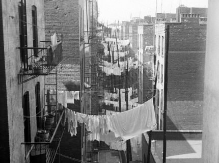 Laundry ca. 1935-1941. Seen looking west from 70 Columbus Ave or Amsterdam Ave at 63nd St.