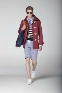 Red Linen Duffle Coat with Gingham Shorts & Linen handkerchief