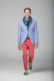 Sky Blue Cotton Jacket, Coral Chinos & Green Boat Shoes