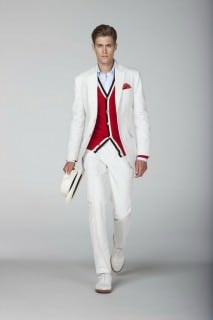 White Cotton Suit with Red Cardigan & Panama Hat