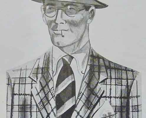 Pork Pie Hat, Bold Plaid, Striped Tie, Button Down Collar Shirt