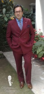 Burgundy Red Suit with Blue and Brown Accessories
