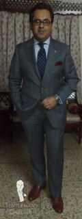 Mid Grey Suit with Light Blue Windowpane