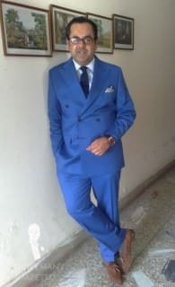 Royal Blue Double Breasted Suit with Suede Tassel Loafers