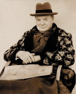 Churchill in Dressing Gown & Homburg Hat