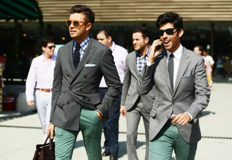 Grey Jackets & Green Pants - Great Color Combinaiton