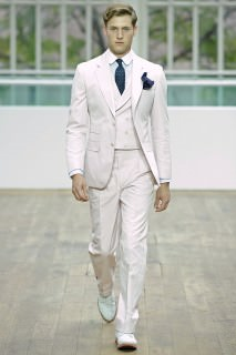 Hackett Three Piece Suit with Double Breasted Waistcoat in White with Stripes