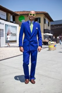 Luca Rubinacci in Double Breasted Blue Suit with Fly Front