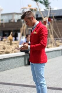 Pitti Uomo Red Jacket, Skinny Jeans & Dotted Shirt