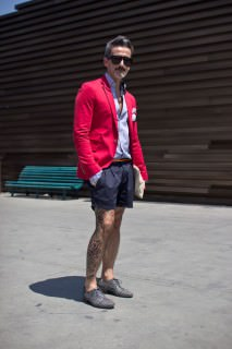 Red Blazer with Shorts