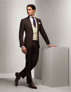 Brown Chalk Stripe Suit with Double Breasted Vest