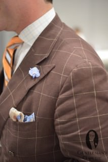 Brown Windowpane Suit Ralph Lauren Purple Label with Boutonniere, pocket Square and Tie