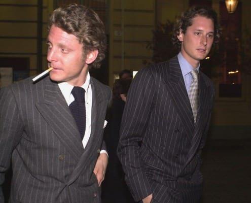 Lapo & John Elkann in Chalk Stripe Double Breasted Suits.