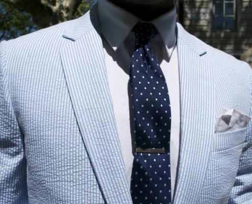 Light Blue Seersucker Suit with Navy Polka Dot Tie