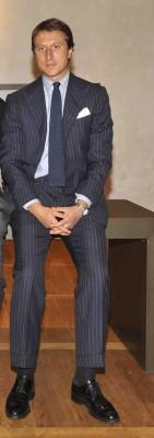 Matteo Cordero di Montezemolo in Chalk Stripe Suit with Knit Tie