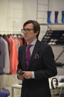 Purple Tie, Navy Suit & Multicolor Pocket Square @ Duchamp London