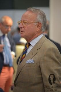 Robert Prenner in Windowpane Sportscoat, Striped Shirt & Tie with Gingham Pocket Square - Exquisite Pattern Matching