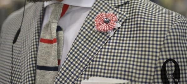 Checked Coat with Grey Knit Tie & Shirt Fabric Boutonniere