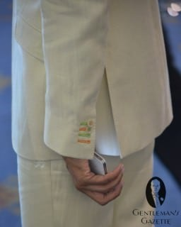 Orange & Green Buttonholes, and Embroidered Pants